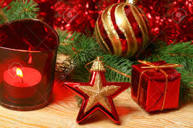 christmas ornaments in red color star gift box candle and