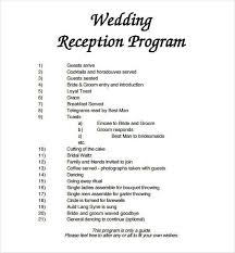 sle of wedding reception program sle wedding reception program wording wedding invitation sle