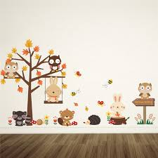 Aliexpresscom  Buy Brown Maple Tree Animals Wall Stickers Kids - Stickers for kids room
