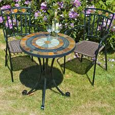 Mosaic Patio Table And Chairs Patio Dining Sets Mosaic End Table Outdoor Iron Tile Table