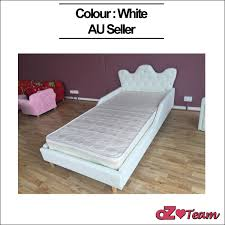 White Leather Single Bed Kids Bed Frame Pu Leather Girls Boys Children Baby Diamond Crystal