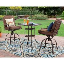 High Patio Table Mainstays Wentworth 3 Piece High Outdoor Bistro Set Seats 2