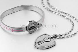 lock necklace with key images Engravable lock key lovers bracelet necklace couples gift set jpg