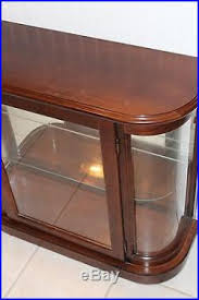 table top display cabinet top wood curved glass mirrored back lighted display case curio cabinet