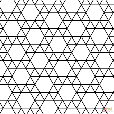 tessellation with triangle and hexagon coloring page free