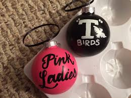 grease pink t birds painted glass ornament set of 2 by