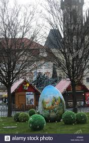 easter egg stands a easter egg stands in the square in prague stock photo