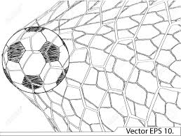 soccer football in goal net vector sketched up eps 10 royalty