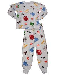 s prints boys sleeve pajamas white