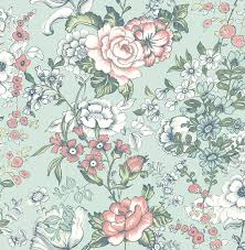 ainsley aqua boho floral wallpaper contemporary wallpaper by