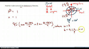 demoivre s theorem to find 3 cube roots of 1