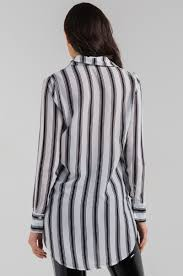 black and white striped blouse sleeve collar button lightweight asymmetric
