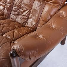 Vintage Brown Leather Chair Vintage 3 Seater Leather Sofa With Teak Frame For Sale At Pamono