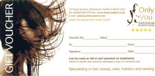 salon gift cards gift vouchers only you hair and beauty salon
