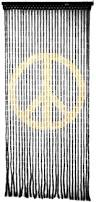 beaded curtains peace sign wooden door beads