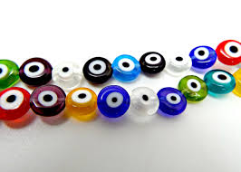 halloween lampwork beads evil eye beads strand of 50 flat round 8mm glass beads mixed