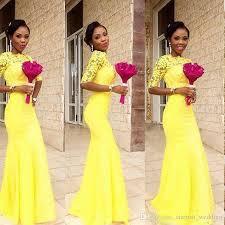 junior bridesmaid dresses long full lace yellow half sleeves