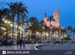 coastal town sitges at spanish mediterranean coast at dusk sitges