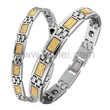 Custom Gold Bracelets Gold Plated Swiss Steel Germanium Magnetic Anti Fatigue Couple