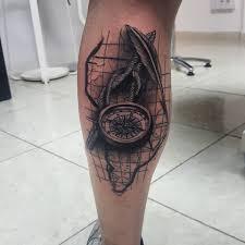 compass tattoo on leg calf by david torres