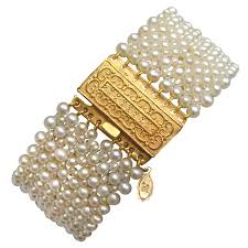 pearl bracelet with gold clasp images Woven pearl bracelet with antique english gold clasp antique jpg
