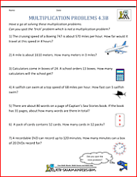 free multiplication word problems multiplication word problems 4th grade