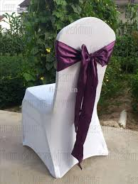 Purple Chair Sashes Dark Purple Satin Chair Sash Bow Ribbon Wedding Satin Chair