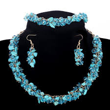 blue beaded necklace images Bib statement sky blue gems jewelry set choker collar beads jpg