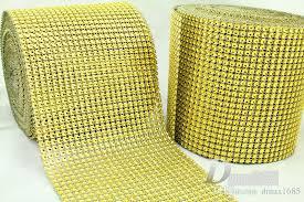 mesh ribbon wholesale gold 4 6 10 yard wedding party bling diamond mesh wrap ribbon