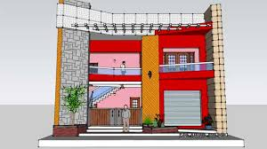 Home Design Using Sketchup by 3d Front Elevation Sketchup Youtube