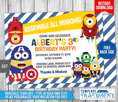 minions avengers birthday invitation template 9 by