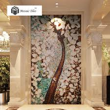 Bisazza Style Jade Glass Mosaic Tiles Pachira Tree Floral Puzzle - Wall mosaic designs