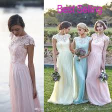 dress lace chiffon bridesmaid dresses long bridesmaid dress cap