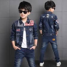 click to buy boys denim jacket boys 2pcs clothing set