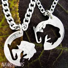 Buck And Doe Couples Necklace Fishing Jewelry Couples Necklaces Hook And Fish Hand Cut Coin
