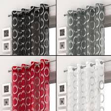 Black Gray Curtains Silver Circles Voile Curtain Panel Ring Top Eyelet Net Black White
