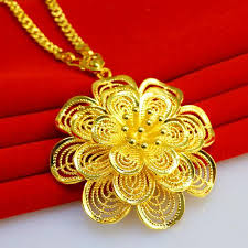 long flower necklace images Wholesale not fade long sweater chain necklace gold flower pendant jpg