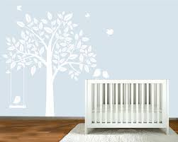 Tree Wall Decals For Nursery Minimalist Kid Bedroom Style With White Silhouette Tree Wall Decal