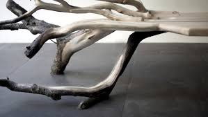 bench design with wood looks like a fallen tree interior