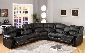 Leather Sectional Sofa Bed by Black Faux Leather Reclining Motion Sectional Sofa W Storage