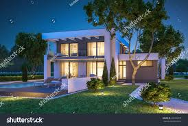 House With Garage 3d Rendering Modern Cozy House Garage Stock Illustration 562240072