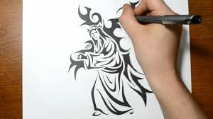 drawing jesus carrying the cross tribal art tattoo design style