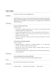 Job Resume Bilingual by Resume For Secretary Job Free Resume Example And Writing Download
