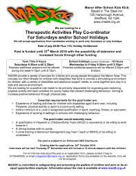 vacancy therapeutic activities play co ordinator closing date