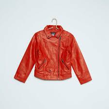 biker jacket faux leather biker jacket girls age 4 to 12 years red kiabi