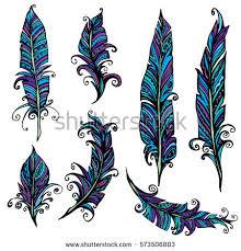 set ornamental feather tribal design ink stock vector 547672153