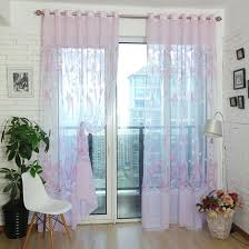 balcony curtain environmental pink floral rustic balcony sheer curtains