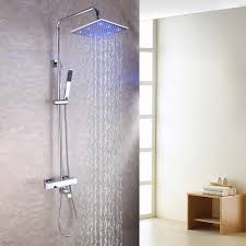 compare prices on bath faucet shower online shopping buy low 10 inch square temperature sensitive led shower mixer head exposed bath thermostatic shower faucet set