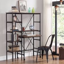 shelving unit w pull out desk bookcase space saving industrial