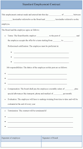 employment contract template contractor professional resumes